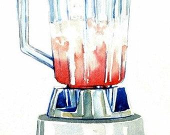 "Art Print of Original Watercolor Painting--Blender ""Margarita Time"" Food Kitchen Decor, Happy Hour, watercolor art, kitchen art"