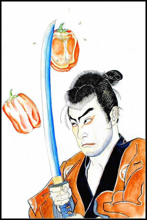 "Watercolor Painting, Kitchen Art Print--Food Art ""Samurai Chef"""