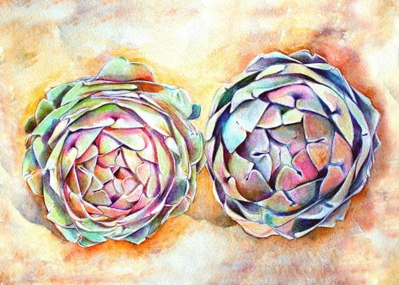 Art Print of Original Watercolor Painting--Artichokes--Food Kitchen Decor, food art, kitchen art