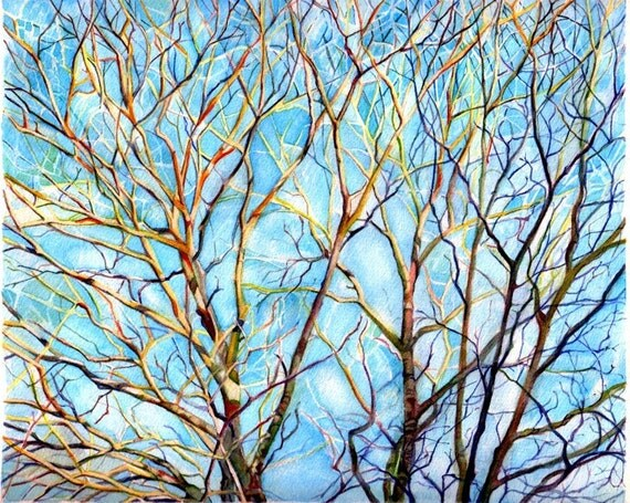 Watercolor landscape painting, Art Print from Original Watercolor trees Painting--Branches in Maine  2--Landscape Nature, trees