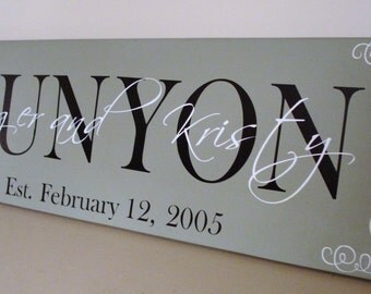 "CUSTOM family name wood sign - great for wedding or anniversary gifts ""Runyon Sign"""