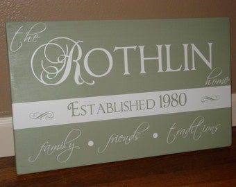 "CUSTOM family vinyl sign PERSONALIZED ""Rothlin Sign"""