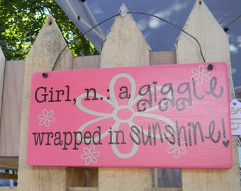 Girl Definition - giggle wrapped in sunshine - wood vinyl sign