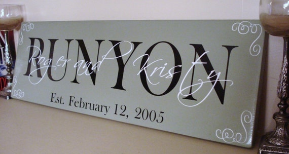 """CUSTOM family name wood sign - great for wedding or anniversary gifts """"Runyon Sign"""""""