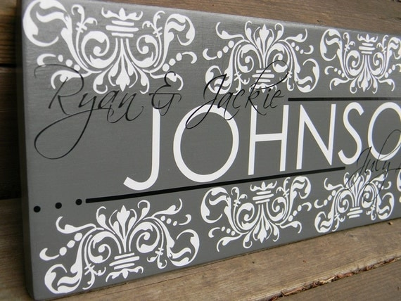 "Cutom Vinyl Wood Sign - Family Name - Great Custom Wedding Present ""Johnson Sign"""