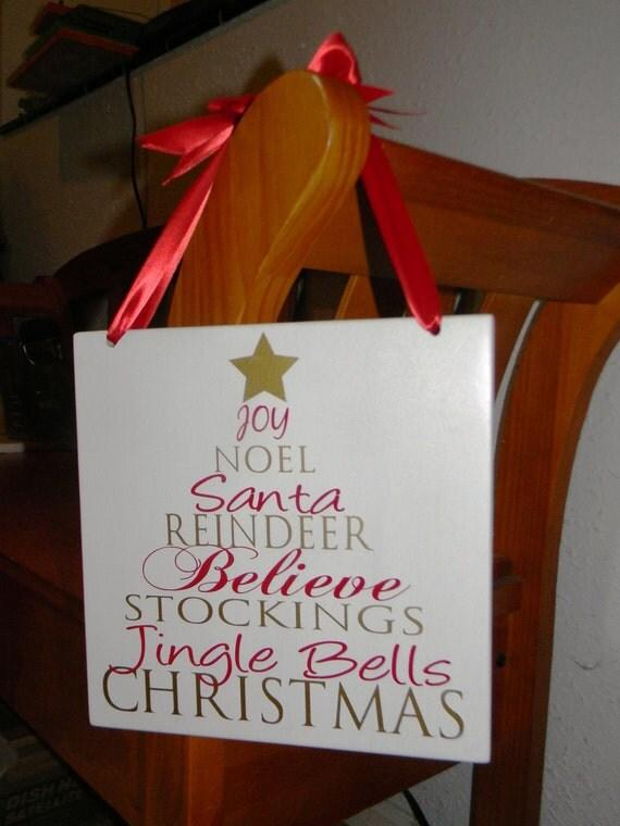 Christmas Words Tree wall hanging