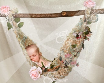 Newborn Hammock with Roses Photography Background PSD File