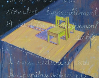 Deux Et Deux , an original oil painting   24 x 24 x 3/4 inches. By Yvonne Wagner. School chair. School. Wooden chair. School.
