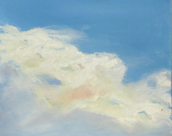 CLOUD III, 8 x 8  ( 20 x 20 cm) oil painting on hardhoard. Original oil. By Yvonne Wagner. Sky. Blue. Nuages. Wolken.