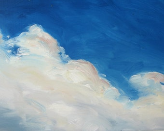 CLOUD VIII, 8 x 10 inches, (20 x 25 cm) a framed oil painting on hardboard by Yvonne V. Wagner.  Clouds. Les Nuages. Wolken. SALE