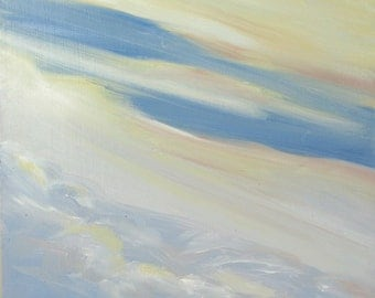 CLOUD XII, 8 x 8 inch oil painting on hardboard. By Yvonne Wagner. Original oil. Wolken. Nuages. Le ciel. Himmel.