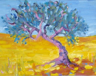 OLIVE TREE,  original oil painting by Yvonne Wagner. Italy. Tuscany. Der Shatten, Ombre, Italy. Framed. 12 x 9 inches (23 x 30 x 2 cm)