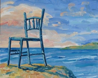 "Blue Greek Chair, original oil painting. Yvonne Wagner. Greece. Paros. Beach. Chair. 30 x 30 x 3/4"" (76 x 76 x 4 cm) Free Shipping  to USA."