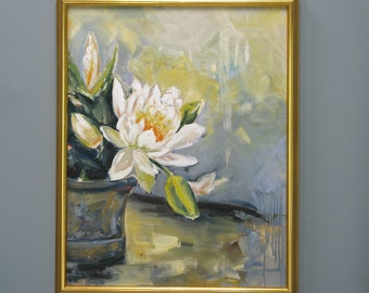 "LILY, 22"" x 28""  an original oil painting on canvas with gold custom frame. Yvonne Wagner. Water lily. Water lilies. Free Shipping to USA."