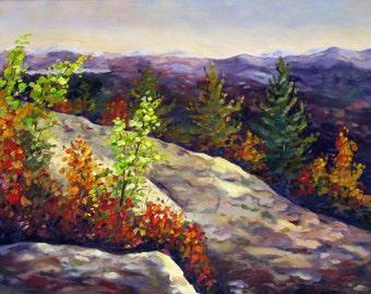 Appalachians, an original oil on stretched canvas painting 20 x 16 (51 x 41 cm) by Yvonne Wagner. Landshaft. Blue Ridge. Smokies. SALE.