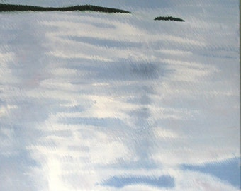 "Water One, an original oil on canvas 30 x 40 x 3/4"" (76 x 102 cm) Yvonne Wagner. Reflection. Clouds. Nuages. Free Shipping within the USA."