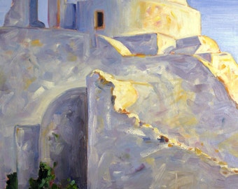 "Mykonos Island Church. 40"" x 30"" x 1.5"" oil painting. Yvonne Wagner. Paraportiani Church. Greek landscape."