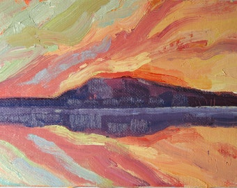 Northern Sunset. Original oil painting on canvas board. Yvonne Wagner. Sunset painting. Cloud painting.  Framed 5 x 7 (13 x 18 cm)  SALE.