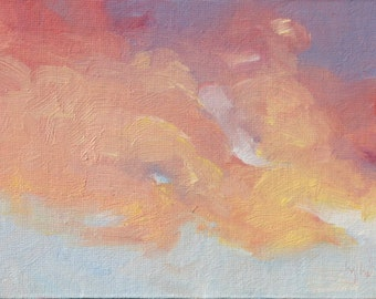 Sunset Two. Cloud painting. Original oil painting on canvas board by Yvonne Wagner. Framed 5 x 7 (13 x 18 cm). Ciel. Les Nuages. Sale.