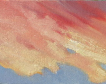 SUNET ONE, Framed 5 x 7 (13 x 18 cm) oil painting on canvas board. Yvonne Wagner. Clouds. Himmel. Nuage. Wolken. Les Nuages.  Ciel.