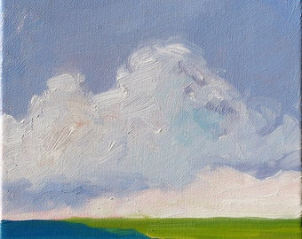 DREAM CLOUD.  original oil painting on stretched canvas. Yvonne Wagner. Seascape. Nuages. Landscape. 8 x 10. Framed. Cloud Painting.