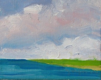 Chartreuse and Blues 8 x 10,  (20 x 25 cm.)  Seascape - original oil on stretched canvas by Yvonne Wagner. Clouds. Himmel. Cielo. Sky. Sale.