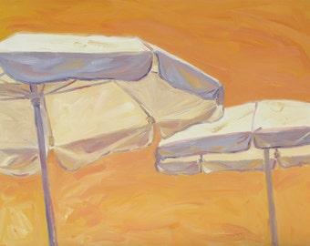 UMBRELLA SKY, ONE, 24 x 30 x 1.5 (61 x 76 cm) original oil painting on canvas created by Yvonne Wagner. Umbrella. Beach. Sky.