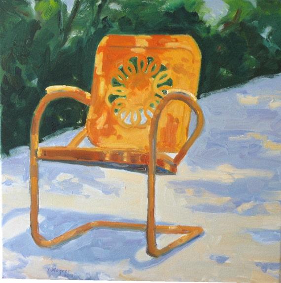 GARDEN CHAIR, oil on canvas, 20 x 20 x 3/4 inch. Original oil by Yvonne Wagner. Retro Chair. Free Shipping in USA.  Jarden. Garten.