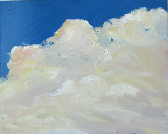 SALE, Cloud IX , 8 x 10 inches, an original oil painting on hardboard. By Yvonne V. Wagner. Cloud painting. Skies