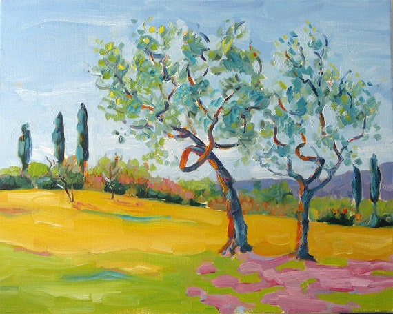 OLIVE TREES - TUSCANY, 16 x 20 inches, (41 x 51 x 2 cm) original oil painting on stretched canvas, By Yvonne V. Wagner. Italy.
