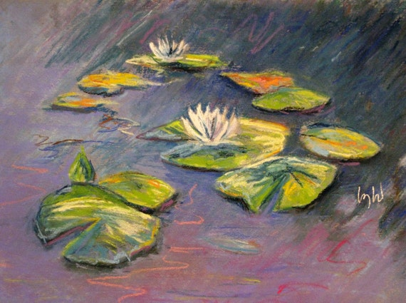 LILY POND, a framed double matted, original oil pastel painting on paper by Yvonne Wagner. Water lilies. SALE.