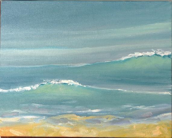 FRAMED     OCEAN WAVE 10 x 8 inch oil on canvasboard by Yvonne Wagner. Sea. Ocean. Surf. Seashore.
