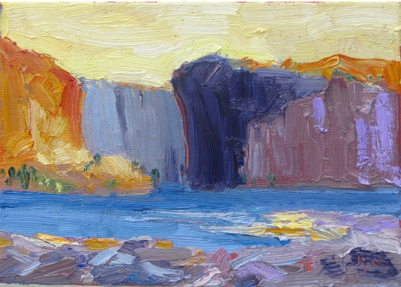 Land of the Voyageurs, 5 x 7 inch (13 x 18 cm) original oil painting by Yvonne Wagner. Sky. Canyon. Lake. Paysage.