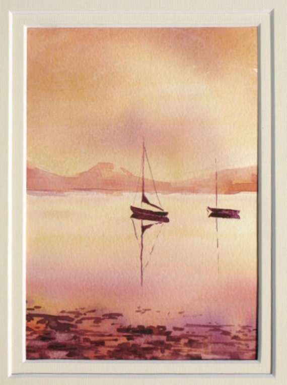 Reserved for Juliane.  EARLY SAIL an original 5 x 7 watercolor painting on Arches 300 lb paper. Framed. By Yvonne Wagner.  Ireland. Irish.