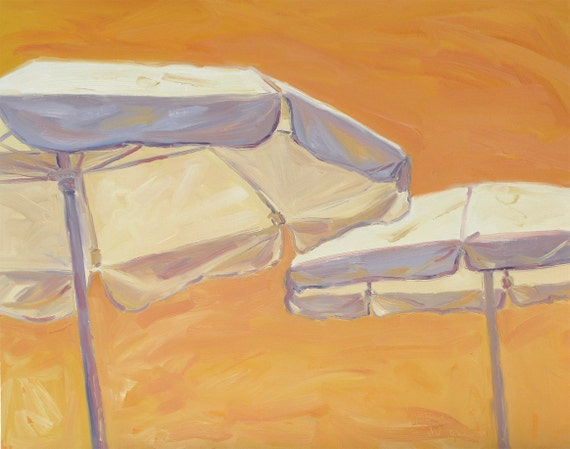 Umbrella Sky One, original oil painting on canvas . Yvonne Wagner. 24 x 30 x 1.5. Beach. Summer. Umbrellas. Beach. Free shipping to USA.