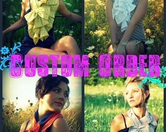 Custom fabric Ruffle bow scarf - The original ruffle bow scarf, weddings, bridesmaids