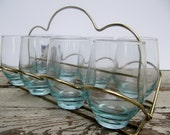 Vintage Libbey Blue Glasses with Carrier