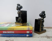 Vintage Black Poodles Bookends