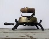 Christmas in July CIJ Sale Rustic Farmhouse Decor Antique Sad Iron with Unique Trivet