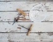 Pair of Vintage Rustic Wine Corkscrews with Wood Handles