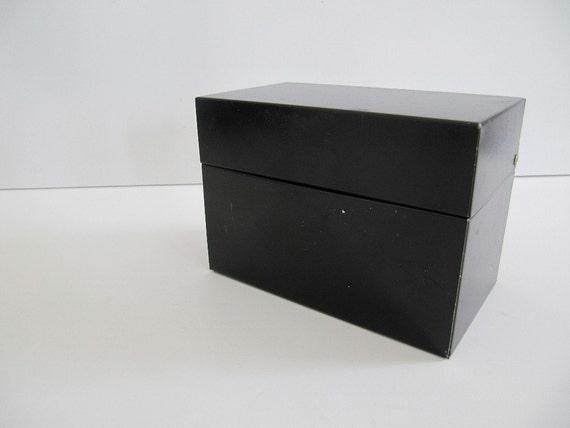 Black Metal Recipe File Box