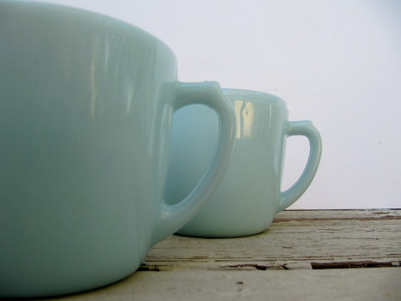 Fire-King Turquoise Blue Creamer and Sugar
