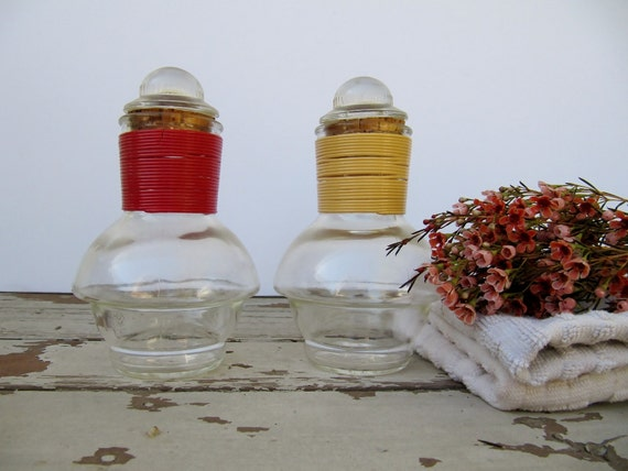 Pair of Red and Yellow Glass Hottles for Tea