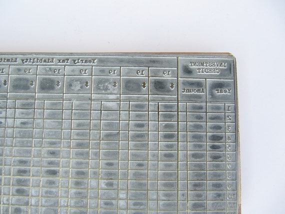 Old School Tax Form Printing Press Block
