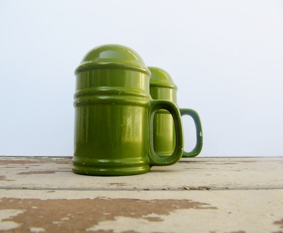 Large Green Chippy Salt and Pepper Shakers
