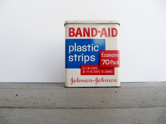 Vintage Band Aid Tin, Metal Box