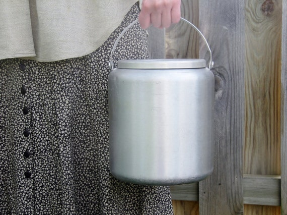 Vintage Rustic Small Silver Milk Pail