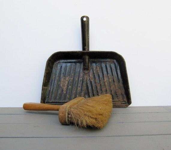 Vintage Black Metal Dust Pan and Hand Broom