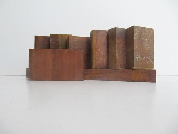Wooden Blocks, Former Backs of Photography Printing Press Blocks