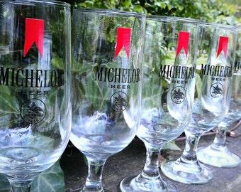 Vintage Set of Michelob Stem Beer Glasses 1980s